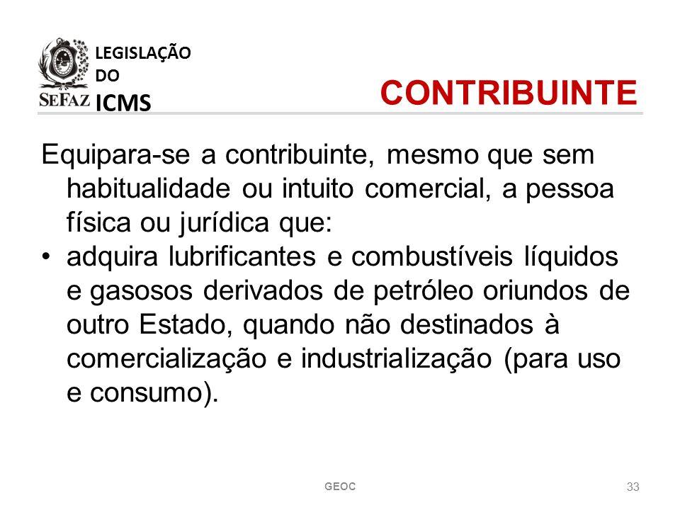 33 Equipara-se a contribuinte, mesmo que sem habitualidade ou intuito comercial, a pessoa física ou jurídica que: adquira lubrificantes e combustíveis