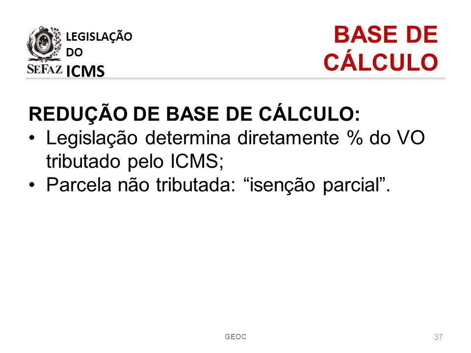 37 REDUÇÃO DE BASE DE CÁLCULO: Legislação determina diretamente % do VO tributado pelo ICMS; Parcela não tributada: isenção parcial.