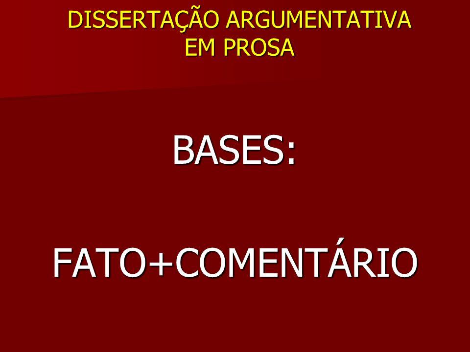 DISSERTAÇÃO ARGUMENTATIVA EM PROSA BASES:FATO+COMENTÁRIO