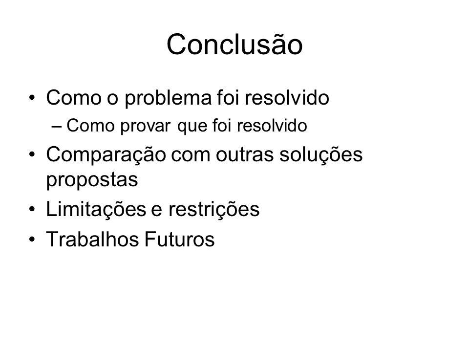 Conclusão Como o problema foi resolvido –Como provar que foi resolvido Comparação com outras soluções propostas Limitações e restrições Trabalhos Futuros