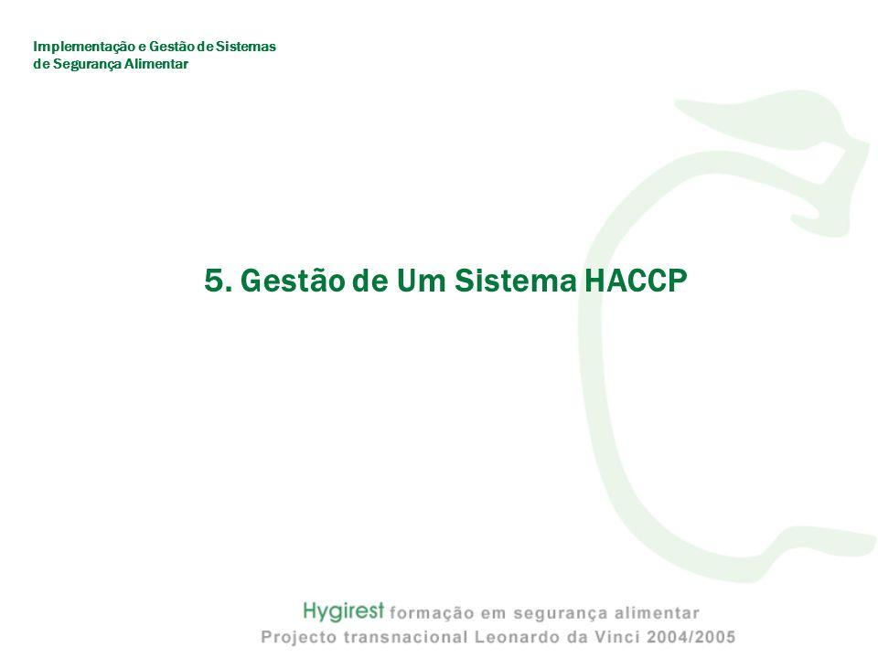 5. Gestão de Um Sistema HACCP Implementação e Gestão de Sistemas de Segurança Alimentar