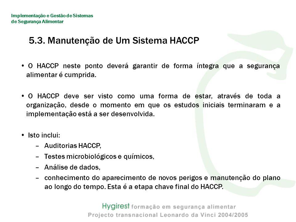 O sistema HACCP inclui procedimentos que fornecem garantia de que o plano está efectivamente a ser implementado e de que é cumprido no dia-a-dia.