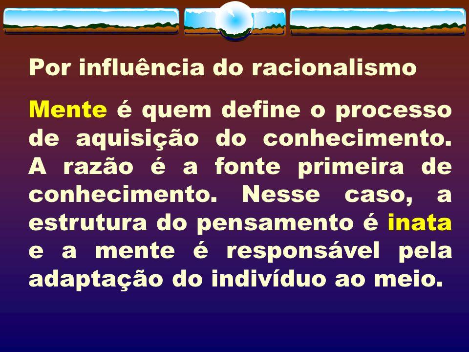 Por influência do racionalismo Mente é quem define o processo de aquisição do conhecimento. A razão é a fonte primeira de conhecimento. Nesse caso, a
