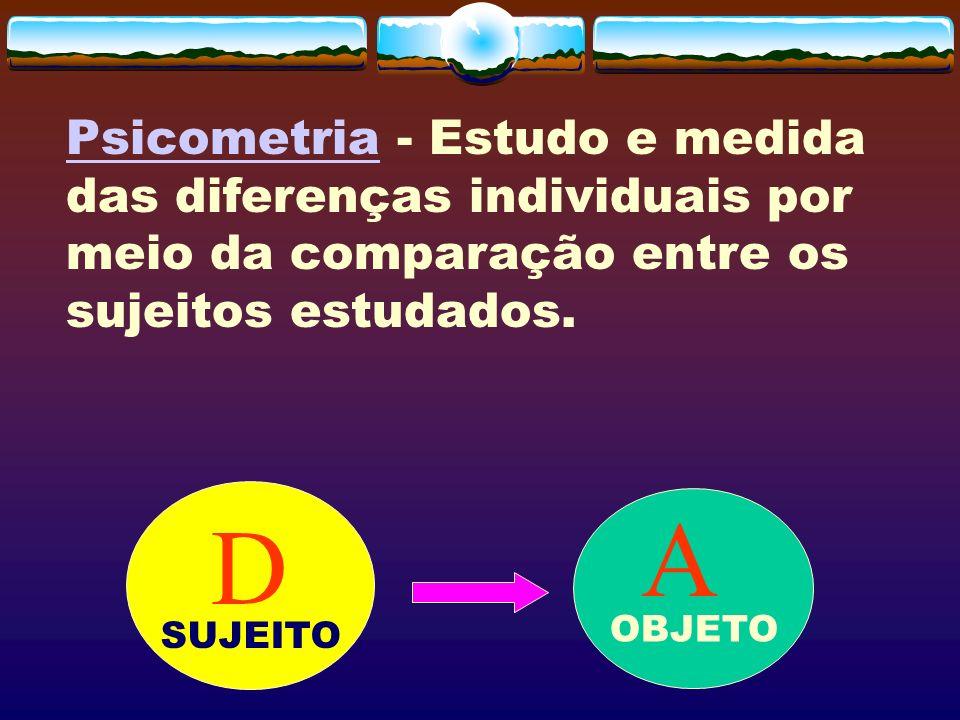 Psicometria - Estudo e medida das diferenças individuais por meio da comparação entre os sujeitos estudados. D A OBJETO SUJEITO