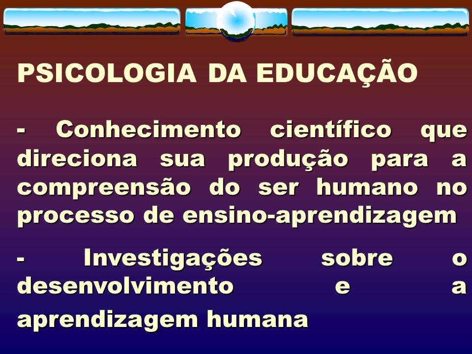 - Conhecimento científico que direciona sua produção para a compreensão do ser humano no processo de ensino-aprendizagem - Investigações sobre o desen