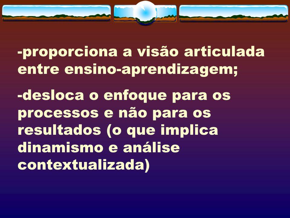 -proporciona a visão articulada entre ensino-aprendizagem; -desloca o enfoque para os processos e não para os resultados (o que implica dinamismo e an
