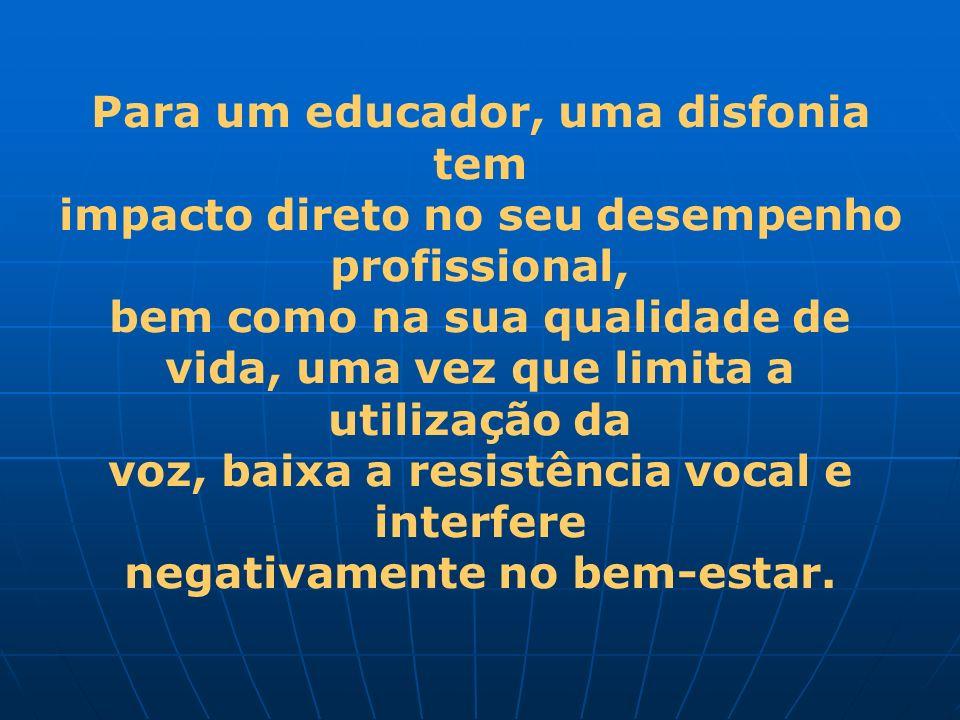 Para um educador, uma disfonia tem impacto direto no seu desempenho profissional, bem como na sua qualidade de vida, uma vez que limita a utilização d