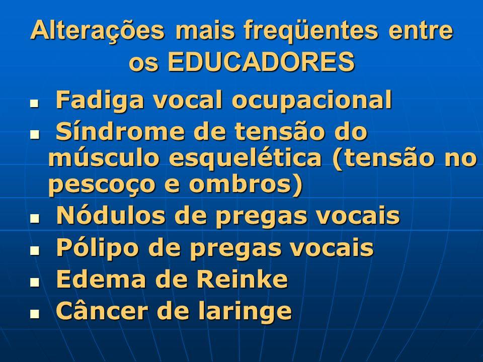 Alterações mais freqüentes entre os EDUCADORES Fadiga vocal ocupacional Fadiga vocal ocupacional Síndrome de tensão do músculo esquelética (tensão no