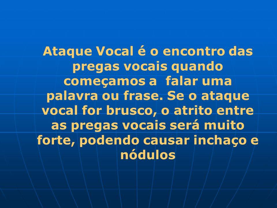 Ataque Vocal é o encontro das pregas vocais quando começamos a falar uma palavra ou frase. Se o ataque vocal for brusco, o atrito entre as pregas voca