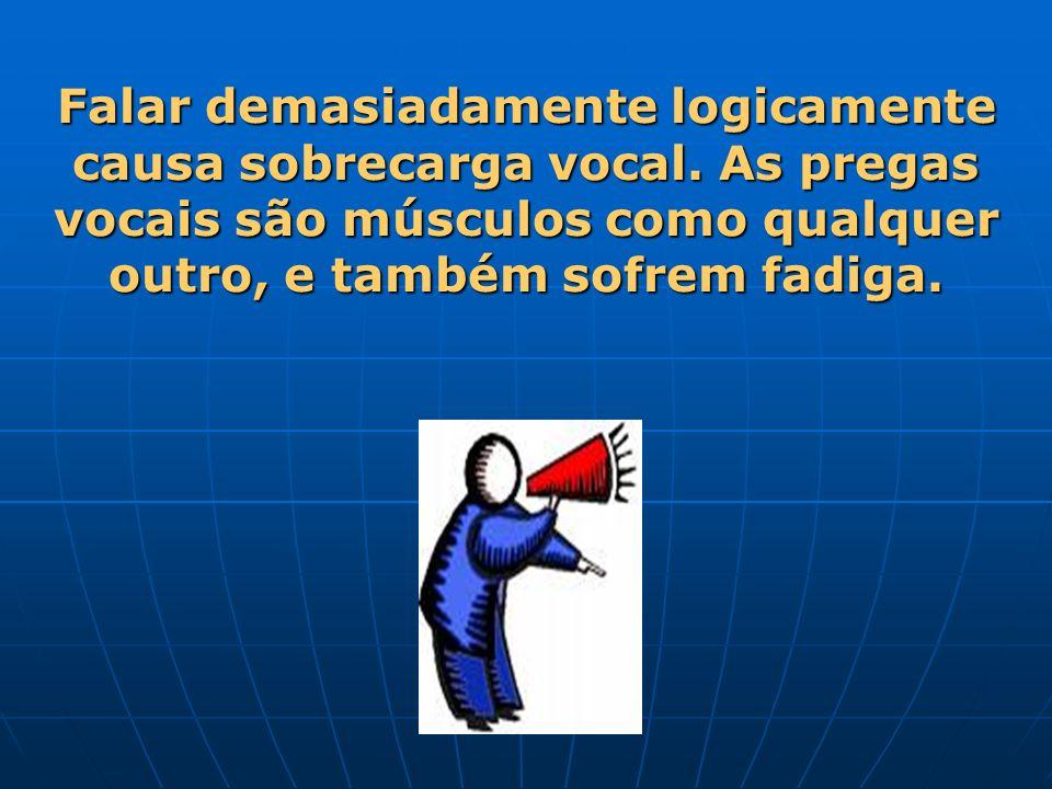Falar demasiadamente logicamente causa sobrecarga vocal. As pregas vocais são músculos como qualquer outro, e também sofrem fadiga.