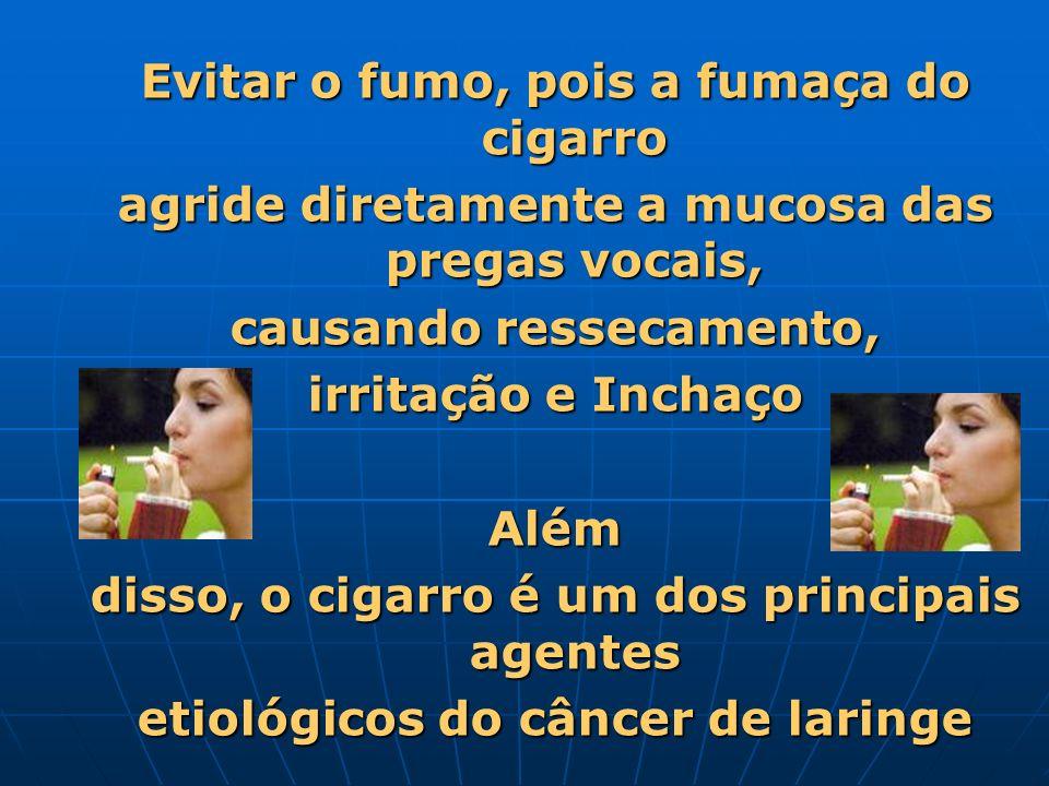 Evitar o fumo, pois a fumaça do cigarro agride diretamente a mucosa das pregas vocais, causando ressecamento, irritação e Inchaço Além disso, o cigarr