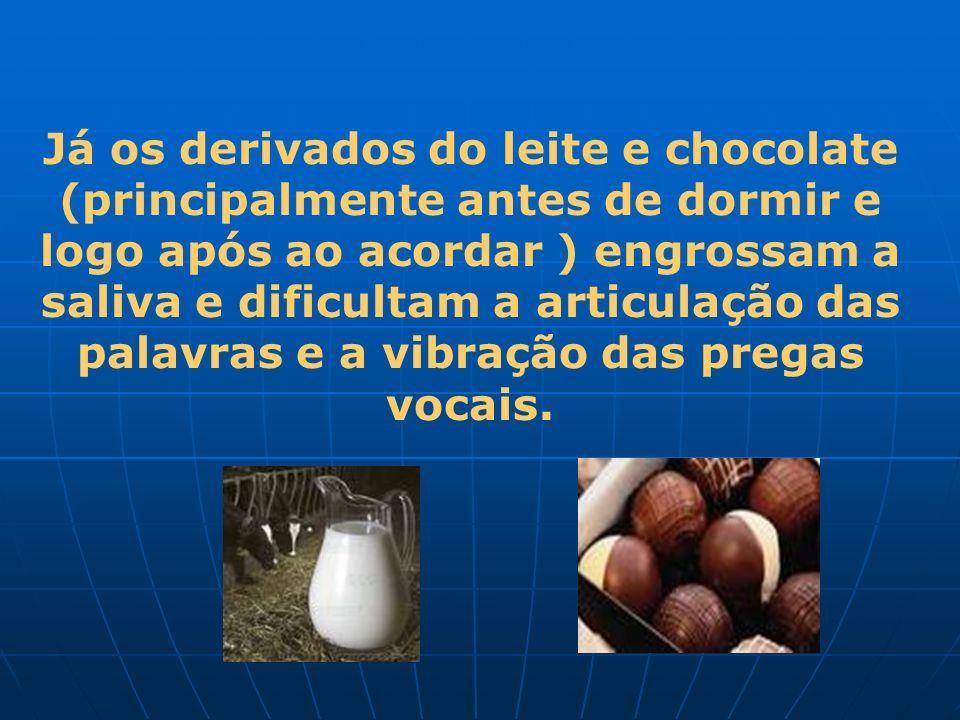 Já os derivados do leite e chocolate (principalmente antes de dormir e logo após ao acordar ) engrossam a saliva e dificultam a articulação das palavr