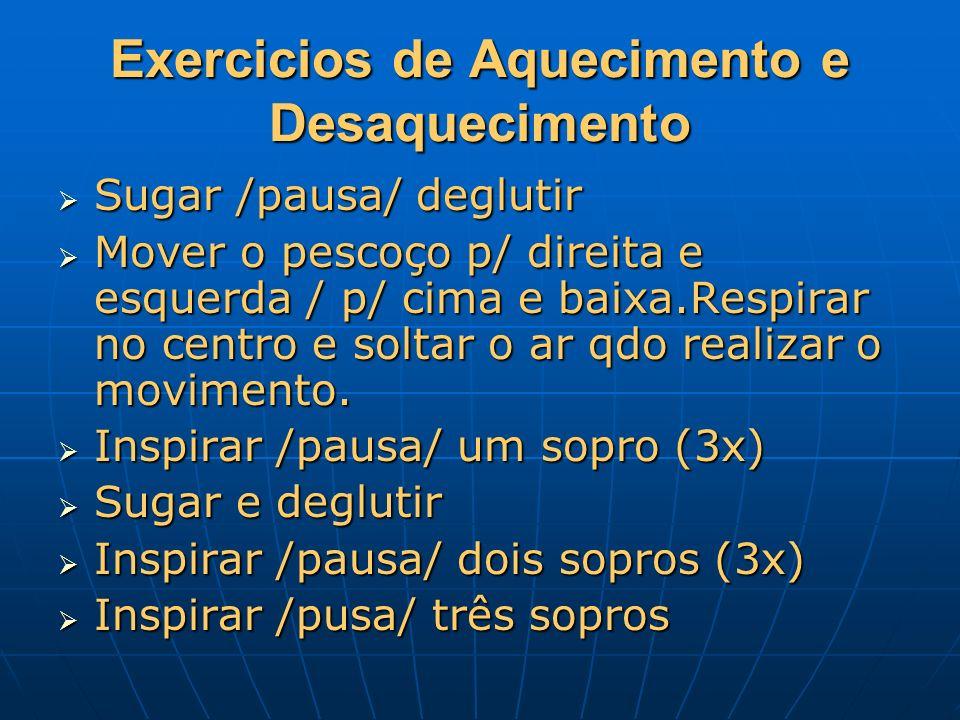 Exercicios de Aquecimento e Desaquecimento Sugar /pausa/ deglutir Sugar /pausa/ deglutir Mover o pescoço p/ direita e esquerda / p/ cima e baixa.Respi