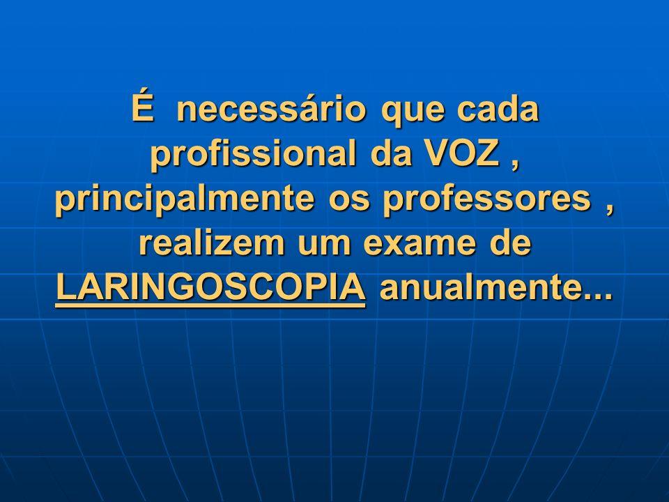 É necessário que cada profissional da VOZ, principalmente os professores, realizem um exame de LARINGOSCOPIA anualmente...