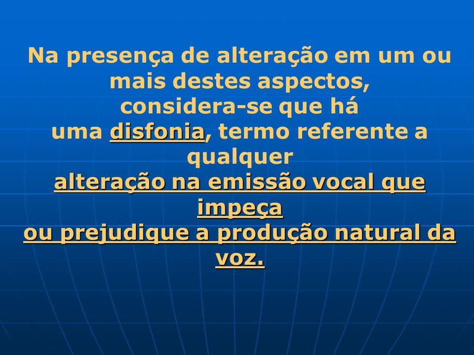 Na presença de alteração em um ou mais destes aspectos, considera-se que há disfonia uma disfonia, termo referente a qualquer alteração na emissão voc
