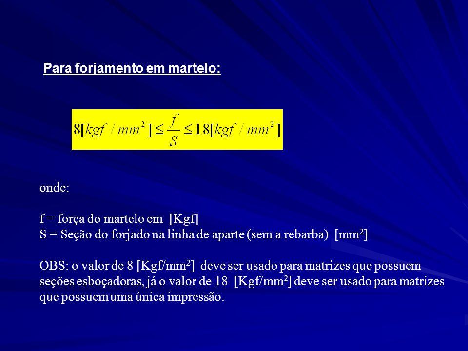 Para forjamento em martelo: onde: f = força do martelo em [Kgf] S = Seção do forjado na linha de aparte (sem a rebarba) [mm 2 ] OBS: o valor de 8 [Kgf