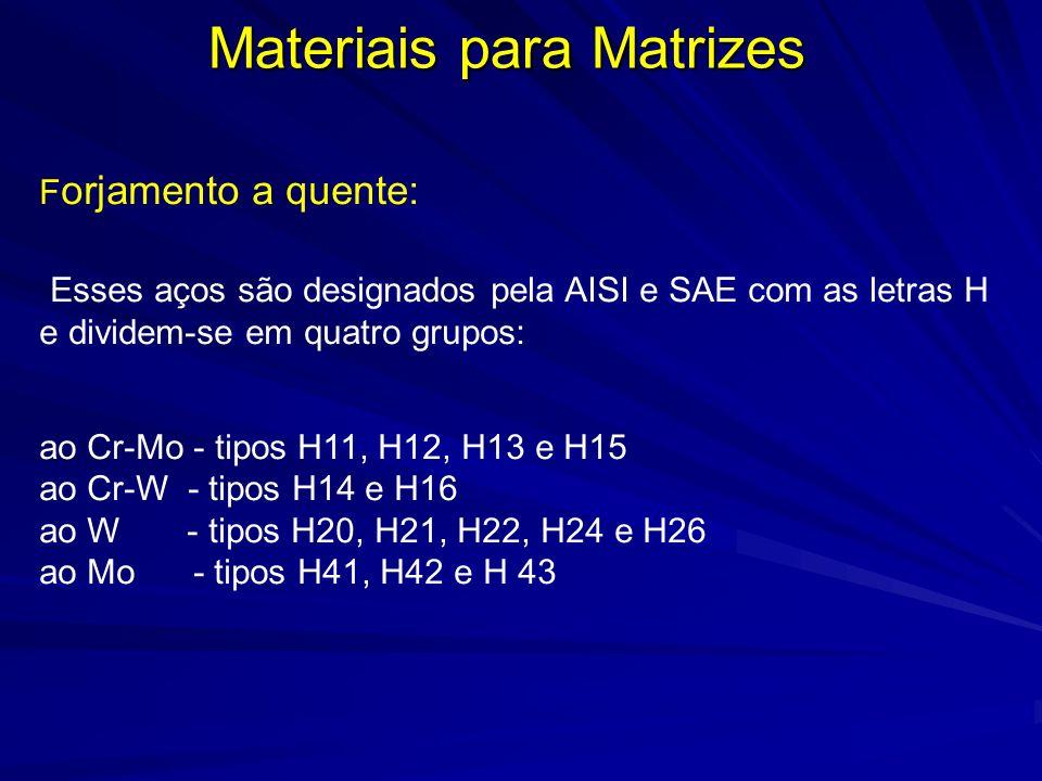 Materiais para Matrizes F orjamento a quente: Esses aços são designados pela AISI e SAE com as letras H e dividem-se em quatro grupos: ao Cr-Mo - tipo