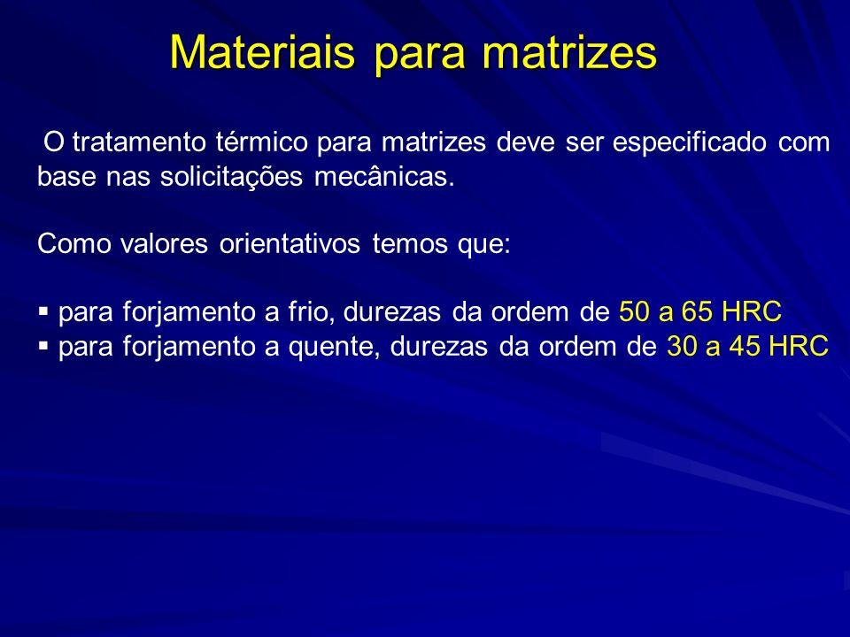 Materiais para matrizes O tratamento térmico para matrizes deve ser especificado com base nas solicitações mecânicas. Como valores orientativos temos