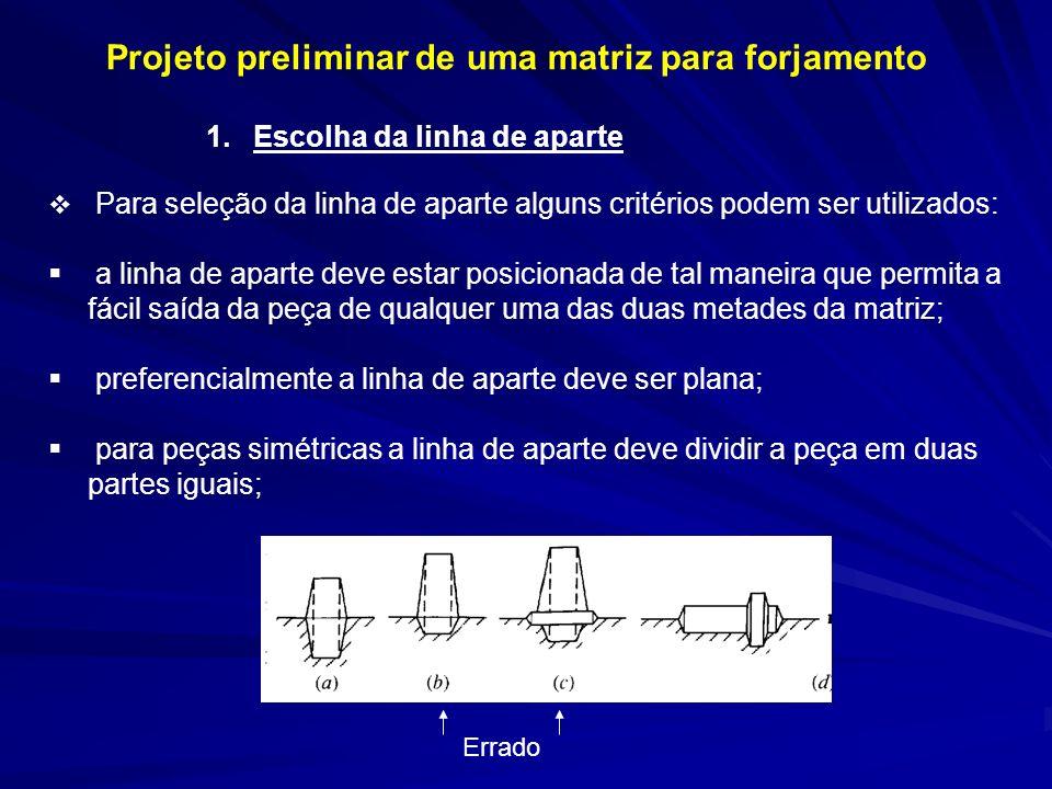 Projeto preliminar de uma matriz para forjamento 1. Escolha da linha de aparte Para seleção da linha de aparte alguns critérios podem ser utilizados: