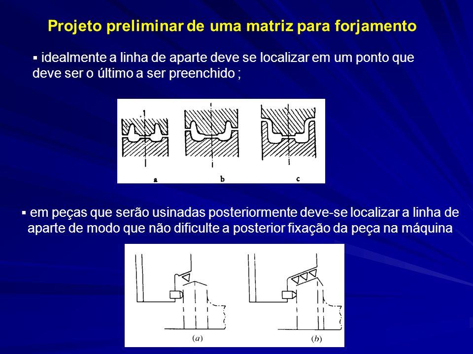 Projeto preliminar de uma matriz para forjamento em peças que serão usinadas posteriormente deve-se localizar a linha de aparte de modo que não dificu