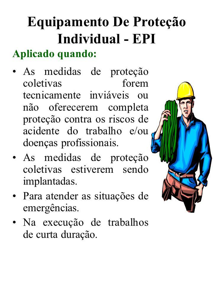 Equipamento De Proteção Individual - EPI As medidas de proteção coletivas forem tecnicamente inviáveis ou não oferecerem completa proteção contra os r