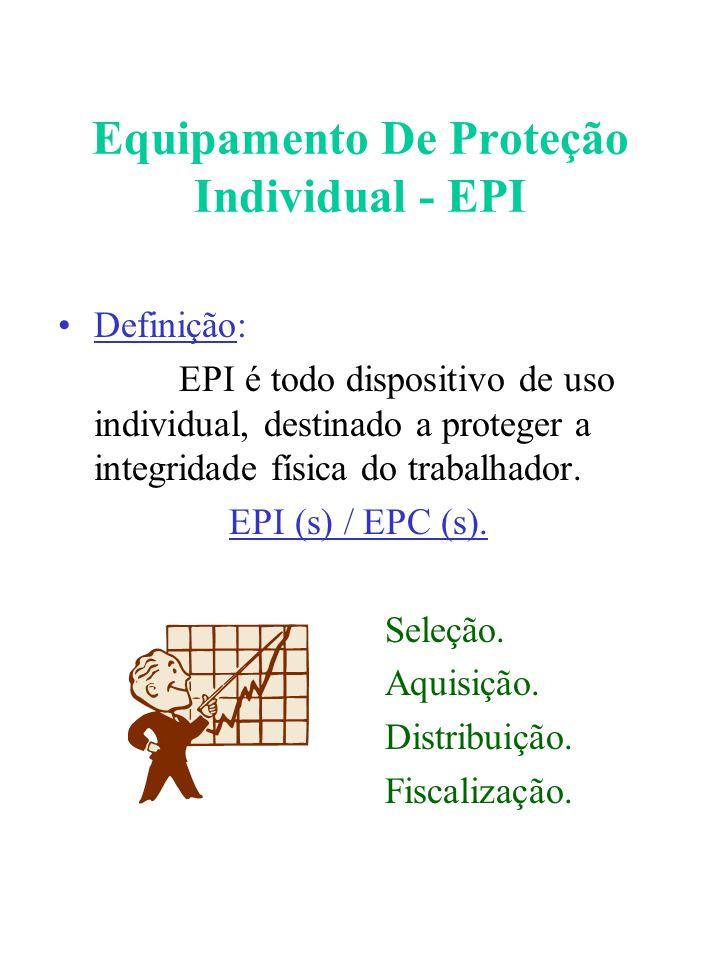 Equipamento De Proteção Individual - EPI Definição: EPI é todo dispositivo de uso individual, destinado a proteger a integridade física do trabalhador