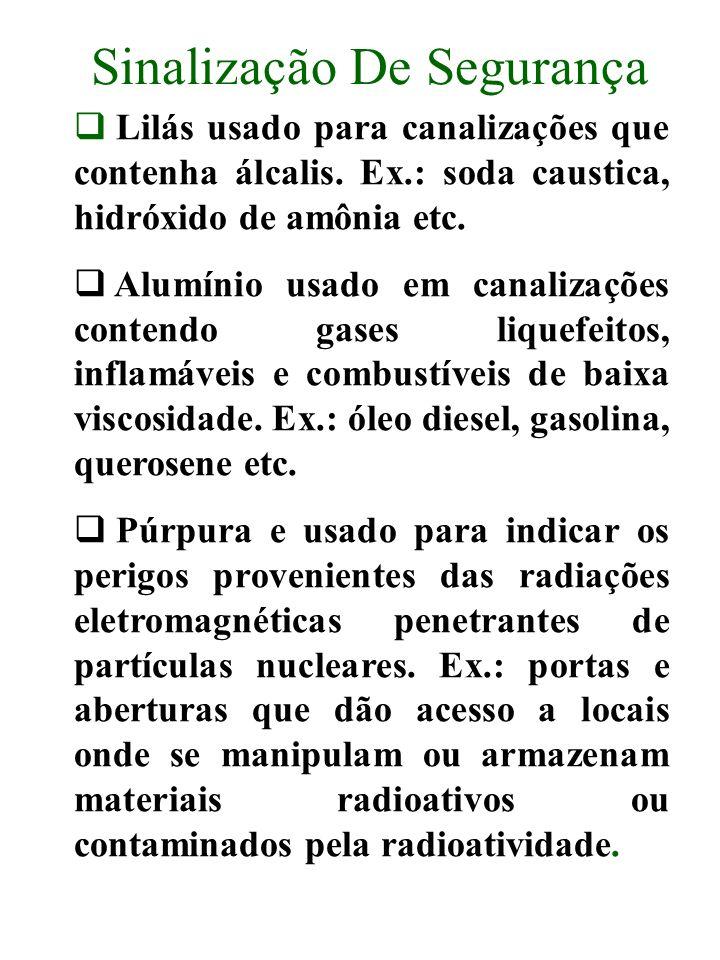 Sinalização De Segurança Lilás usado para canalizações que contenha álcalis. Ex.: soda caustica, hidróxido de amônia etc. Alumínio usado em canalizaçõ
