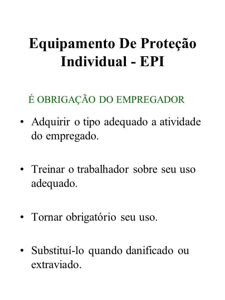 Equipamento De Proteção Individual - EPI Adquirir o tipo adequado a atividade do empregado. Treinar o trabalhador sobre seu uso adequado. Tornar obrig