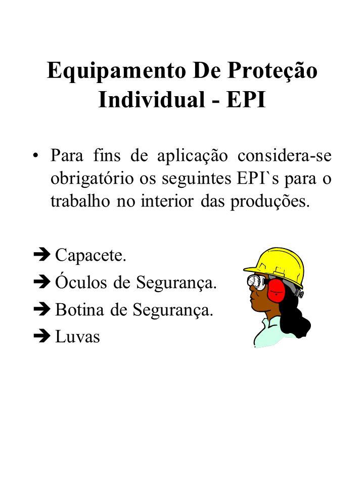 Equipamento De Proteção Individual - EPI Para fins de aplicação considera-se obrigatório os seguintes EPI`s para o trabalho no interior das produções.