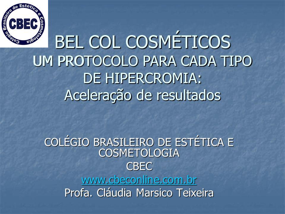 BEL COL COSMÉTICOS UM PROTOCOLO PARA CADA TIPO DE HIPERCROMIA: Aceleração de resultados COLÉGIO BRASILEIRO DE ESTÉTICA E COSMETOLOGIA CBEC www.cbeconline.com.br Profa.
