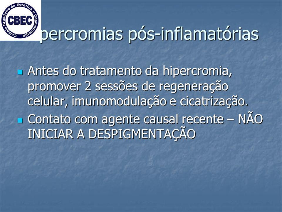 Hipercromias pós-inflamatórias Antes do tratamento da hipercromia, promover 2 sessões de regeneração celular, imunomodulação e cicatrização.