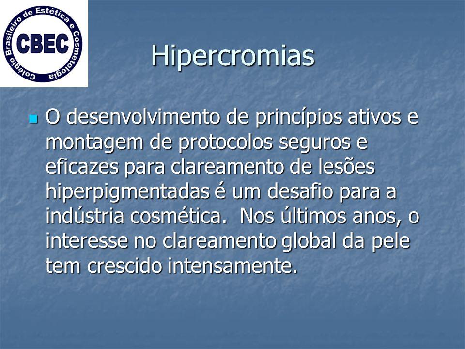 Hipercromias O desenvolvimento de princípios ativos e montagem de protocolos seguros e eficazes para clareamento de lesões hiperpigmentadas é um desafio para a indústria cosmética.