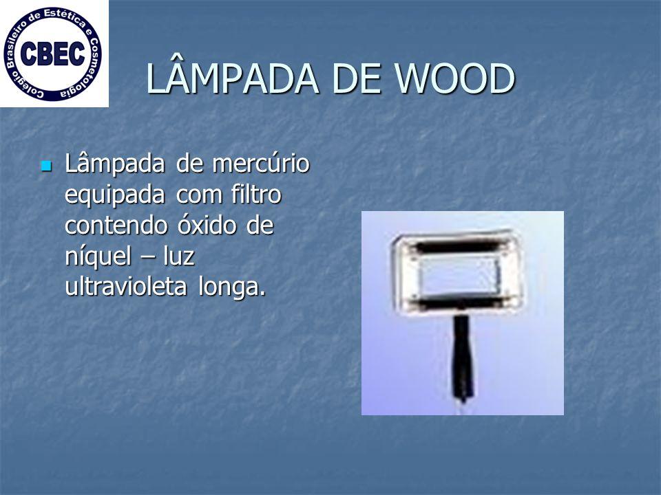 LÂMPADA DE WOOD Lâmpada de mercúrio equipada com filtro contendo óxido de níquel – luz ultravioleta longa.