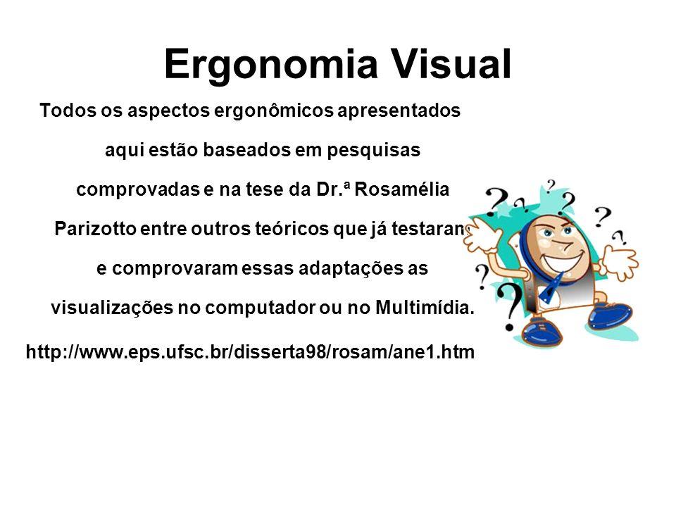 Ergonomia Visual Estes aspectos ergonômicos são válidos para criação de Apresentações de Slides, Editor de Texto, Sites e qualquer produção utilizada para visualização na tela do computador ou Projetor Multimídia