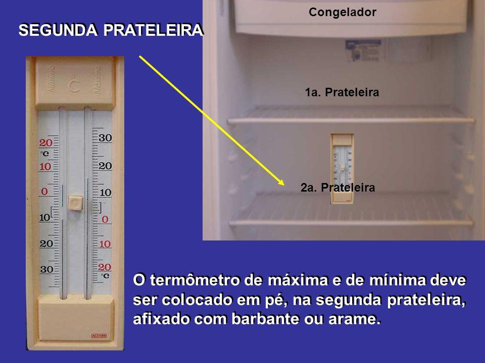Congelador SEGUNDA PRATELEIRA O termômetro de máxima e de mínima deve ser colocado em pé, na segunda prateleira, afixado com barbante ou arame.