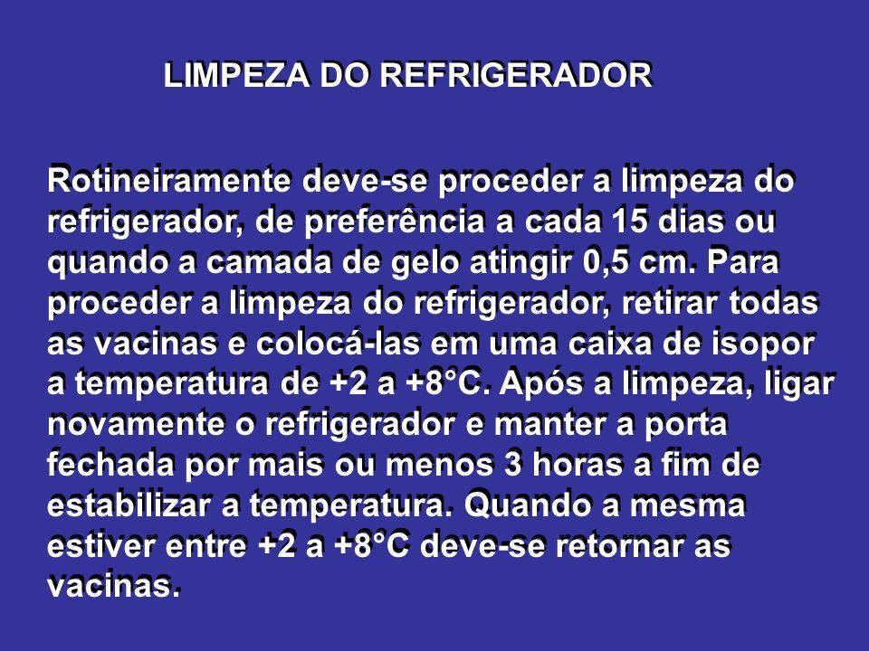 LIMPEZA DO REFRIGERADOR Rotineiramente deve-se proceder a limpeza do refrigerador, de preferência a cada 15 dias ou quando a camada de gelo atingir 0,5 cm.