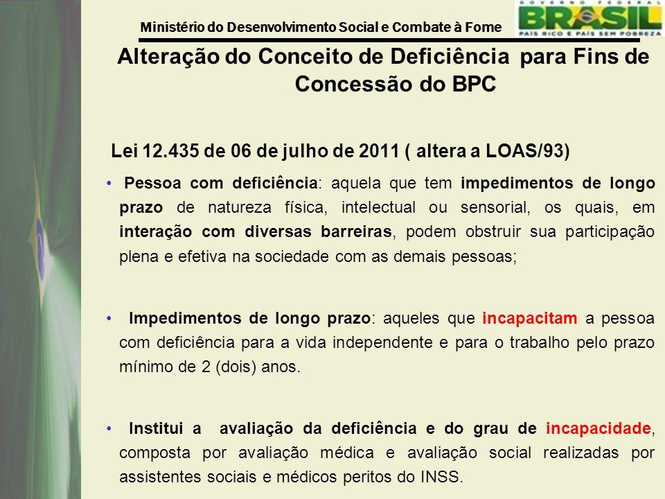 Ministério do Desenvolvimento Social e Combate à Fome Alteração do Conceito de Deficiência para Fins de Concessão do BPC Lei 12.435 de 06 de julho de