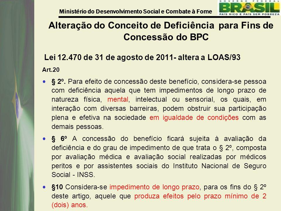 Ministério do Desenvolvimento Social e Combate à Fome Alteração do Conceito de Deficiência para Fins de Concessão do BPC Lei 12.470 de 31 de agosto de