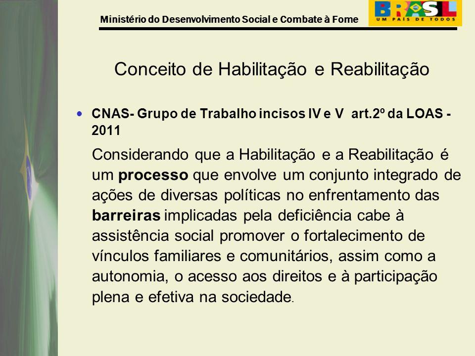 Ministério do Desenvolvimento Social e Combate à Fome Conceito de Habilitação e Reabilitação CNAS- Grupo de Trabalho incisos IV e V art.2º da LOAS - 2