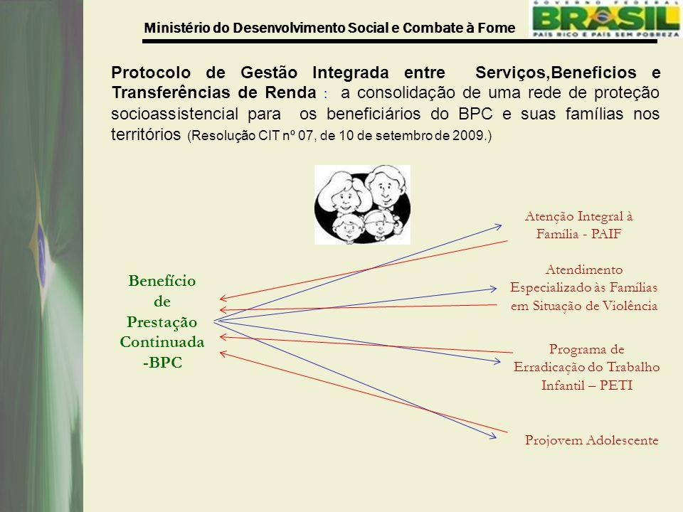 Ministério do Desenvolvimento Social e Combate à Fome Protocolo de Gestão Integrada entre Serviços,Beneficios e Transferências de Renda : a consolidaç
