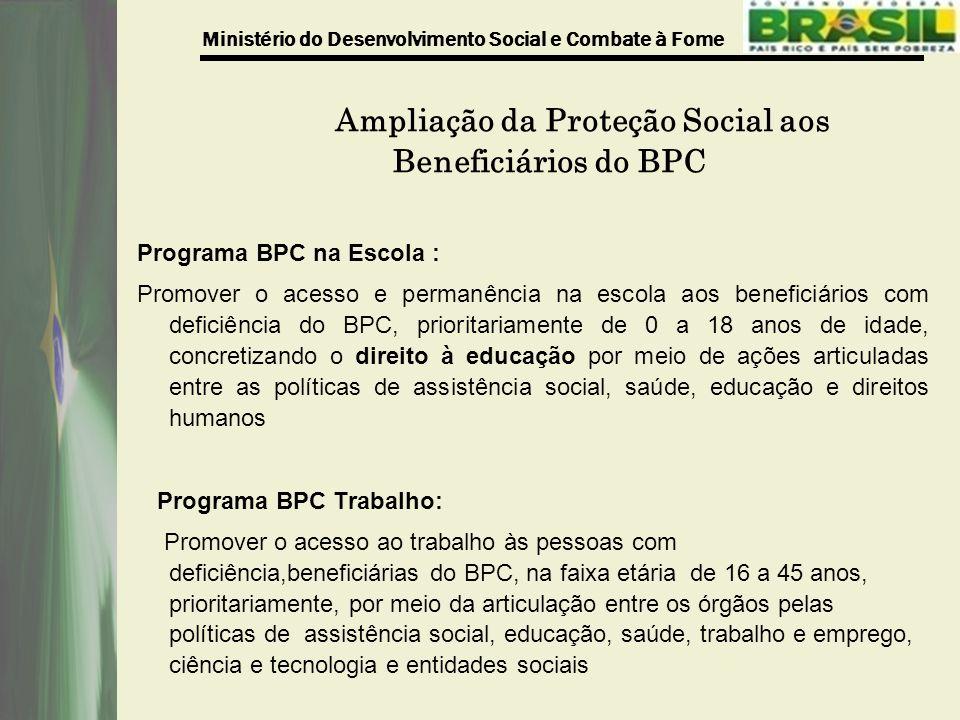 Ministério do Desenvolvimento Social e Combate à Fome Ampliação da Proteção Social aos Beneficiários do BPC Programa BPC na Escola : Promover o acesso