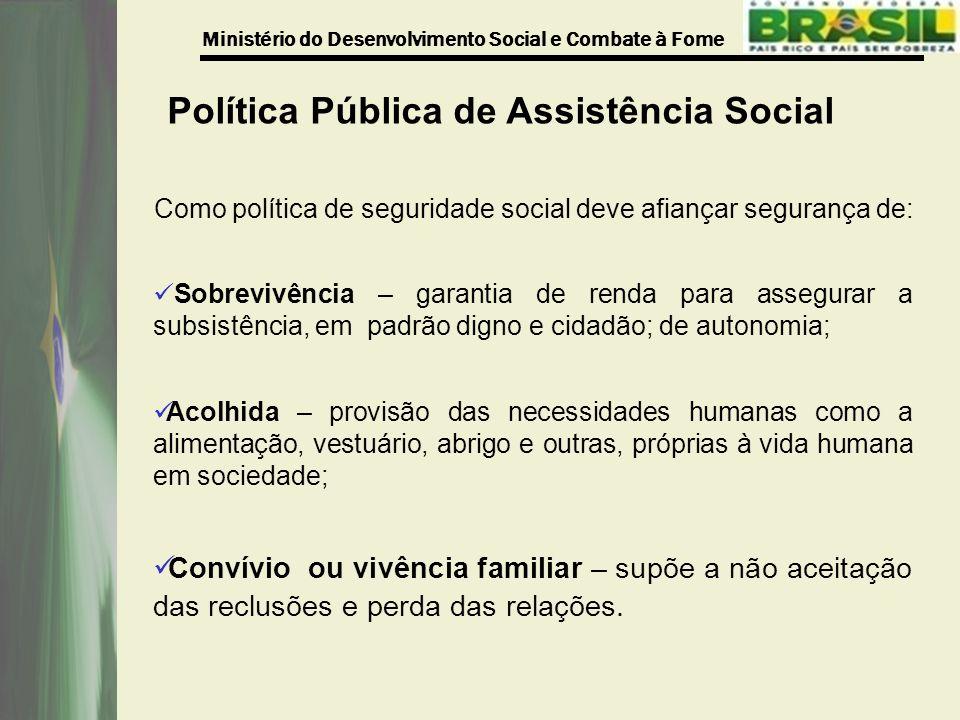 Ministério do Desenvolvimento Social e Combate à Fome Como política de seguridade social deve afiançar segurança de: Sobrevivência – garantia de renda