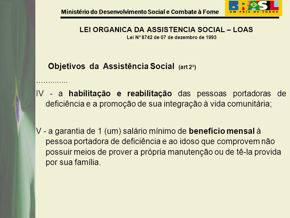 Ministério do Desenvolvimento Social e Combate à Fome LEI ORGANICA DA ASSISTENCIA SOCIAL – LOAS Lei Nº 8742 de 07 de dezembro de 1993 Objetivos da Ass