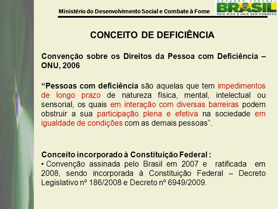 Ministério do Desenvolvimento Social e Combate à Fome CONCEITO DE DEFICIÊNCIA Convenção sobre os Direitos da Pessoa com Deficiência – ONU, 2006 Pessoa
