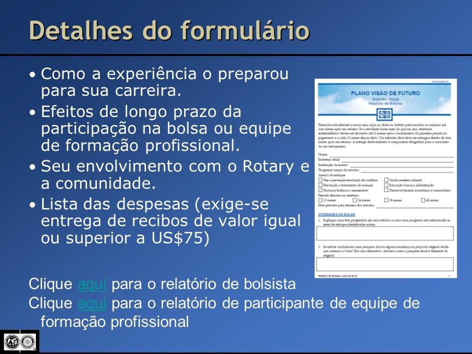 Detalhes do formulário Como a experiência o preparou para sua carreira. Efeitos de longo prazo da participação na bolsa ou equipe de formação profissi
