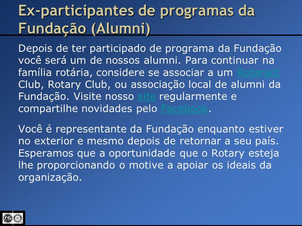 Ex-participantes de programas da Fundação (Alumni) Depois de ter participado de programa da Fundação você será um de nossos alumni. Para continuar na