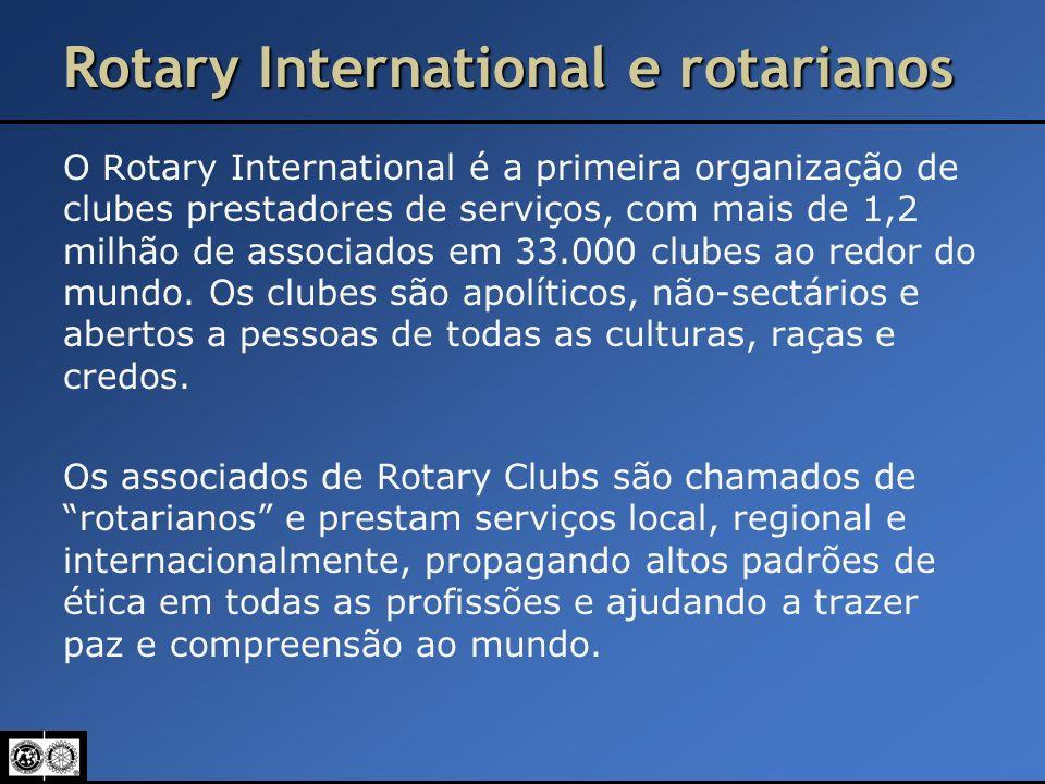 Rotary International e rotarianos O Rotary International é a primeira organização de clubes prestadores de serviços, com mais de 1,2 milhão de associa
