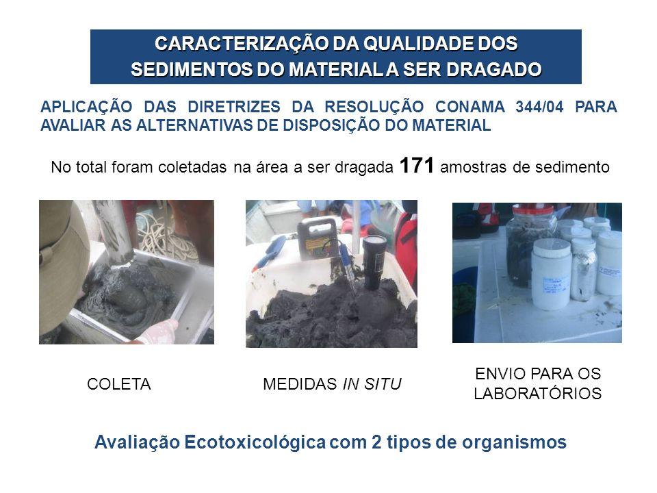 COLETAMEDIDAS IN SITU ENVIO PARA OS LABORATÓRIOS No total foram coletadas na área a ser dragada 171 amostras de sedimento APLICAÇÃO DAS DIRETRIZES DA