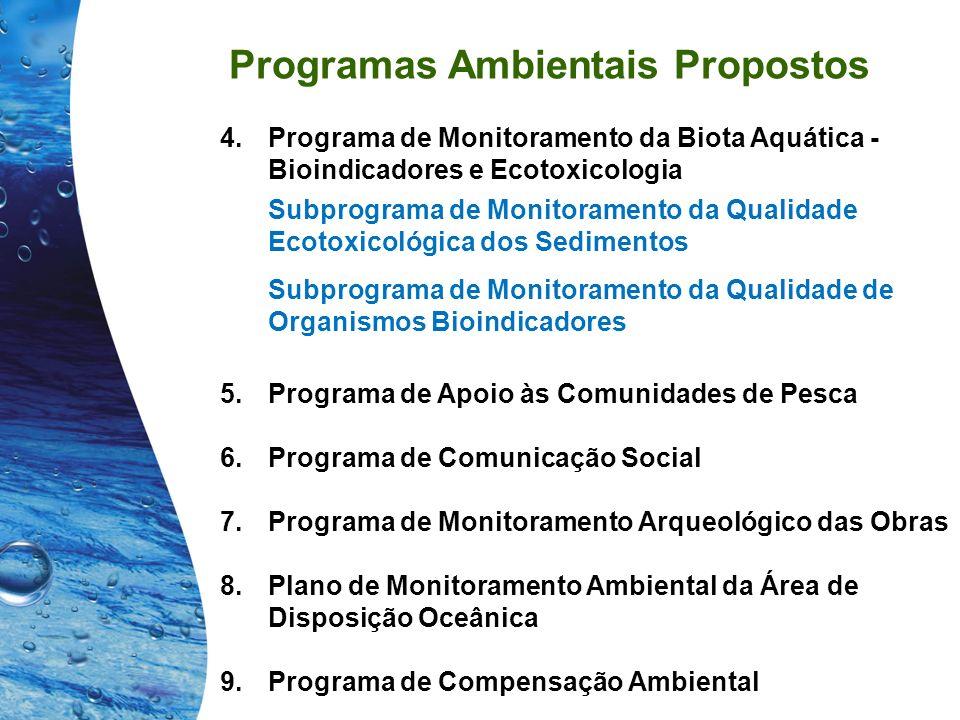 Programas Ambientais Propostos 4.Programa de Monitoramento da Biota Aquática - Bioindicadores e Ecotoxicologia Subprograma de Monitoramento da Qualida