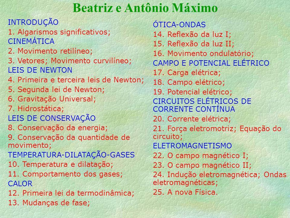Beatriz e Antônio Máximo INTRODUÇÃO 1.Algarismos significativos; CINEMÁTICA 2.